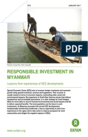 Responsible Investment in Myanmar: Lessons from experiences of SEZ developments