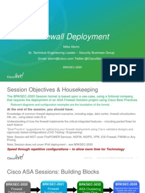 BRKSEC-2020 -Firewall Deployment pdf | Router (Computing