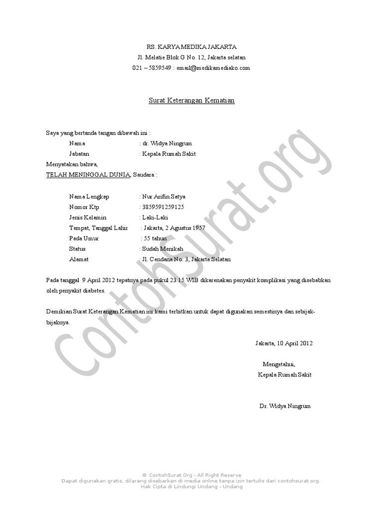 Contoh Surat Keterangan Kematian Rumah Sakit