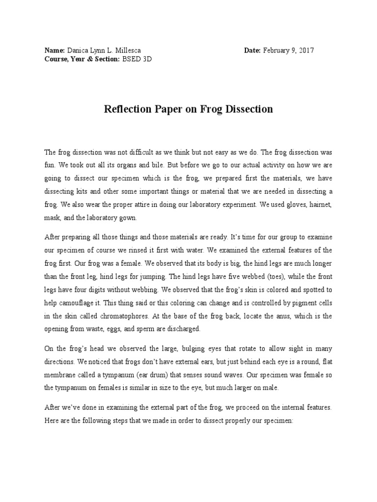 frog dissection essay