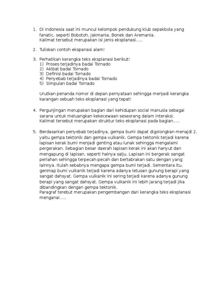 Soal Essay Bahasa Indonesia Kelas 11 Tentang Teks Eksplanasi