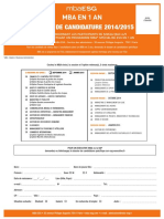 Dossier Candidature MBA ESG 1an Rentree Octobre 2014