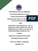 Estrategias Psicoterapéuticas Para El Manejo Del Estrés Laboral en El Área de Emergencias Del Hospital Del Iess de La Ciudad de Riobamba, Periodo 2011-2012
