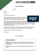 Carta de Renuncia de Un Trabajador