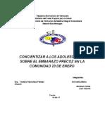 CONCIENTIZAR A LOS ADOLESCENTES SOBRE EL EMBARAZO PRECOZ