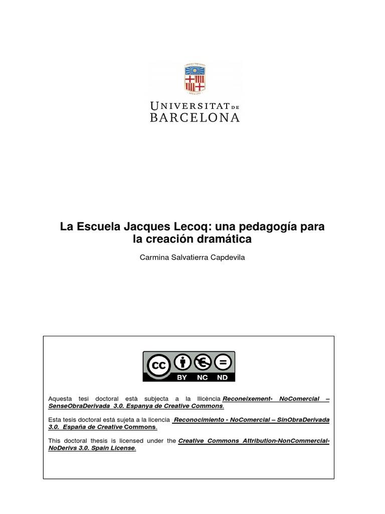 La Escuela de Jacques Lecop Una Pedagogia Para La Creación Dramatica
