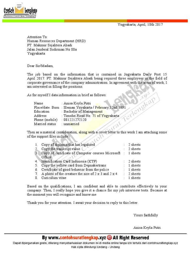 Contoh Surat Lamaran Kerja Bahasa Inggris Dan Artinya Pdf Business