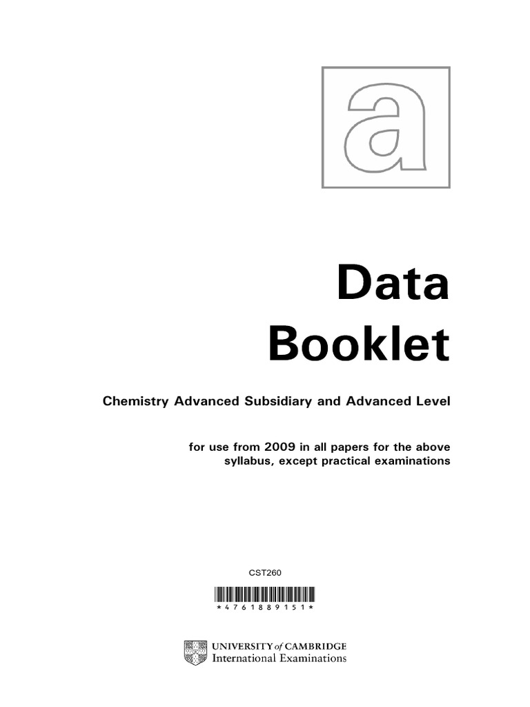 A level chemistry data bookletpdf urtaz Gallery
