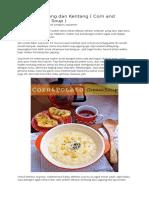 Sup Krim Jagung Dan Kentang