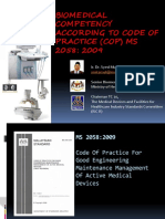 Biomedical Competency According to Code of Practice Ms 2058 2009