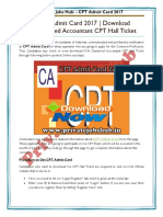 Check CPT Admit Card 2017 Download ICAI Chartered Accountant CPT Hall Ticket
