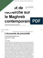 Les Territoires Productifs en Question(s) - L'Économie de Proximité - Institut de Recherche Sur Le Maghreb Contemporain