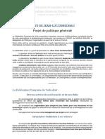 LISTE DE JEAN-LUC DENECHAU. Projet de politique générale