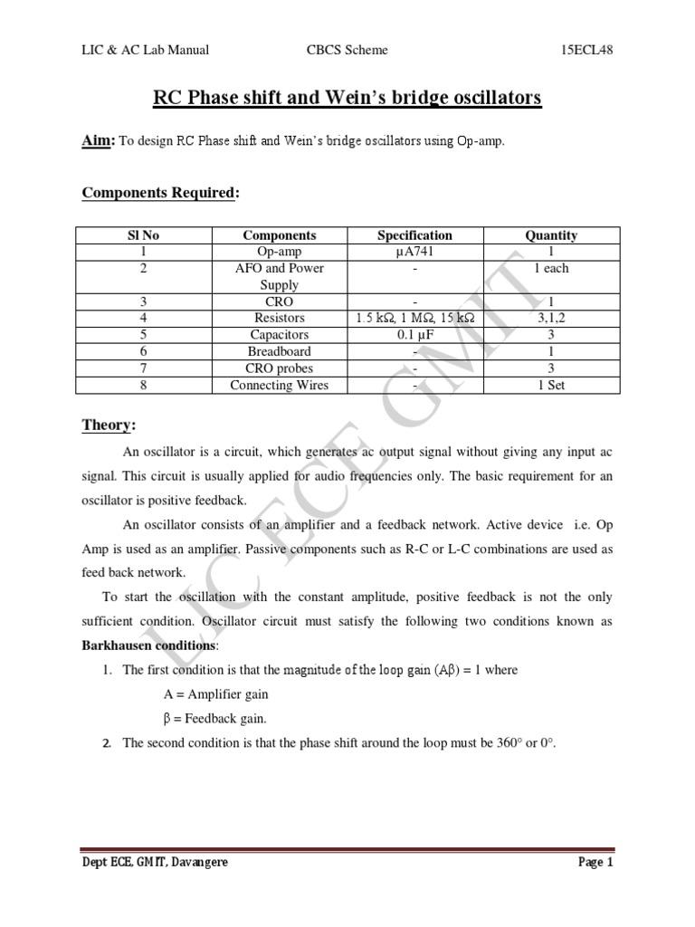 15ecl48 VTU Raghudathesh Rc Wein Bridge Oscillators | Electronic Oscillator  | Amplifier