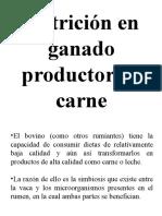 Nutricion en ganado productor de carne