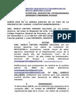 Demanda de Prescripción Adquisitiva Extraordinaria de Dominio, Procedimiento Ordinario #Cogep