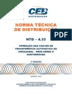 Ntd 4.33 Operacao Das Chaves de Transferencia Automatica Da Ormazabal Rede Aerea Subterranea