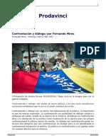 Confrontacion y Dialogo Por Fernando Mires