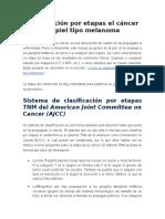 Clasificación Por Etapas El Cáncer de Piel Tipo Melanoma