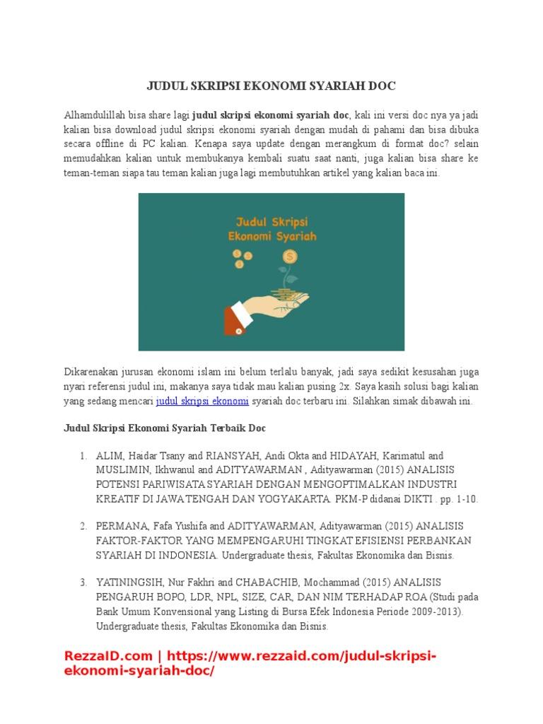Contoh Proposal Skripsi Manajemen Keuangan Syariah Malaysia