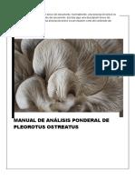 Manual de Análisis Ponderal de Pleorotus Ostreatus