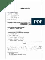 Jugement de la Cour d'appel