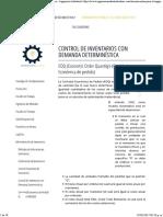 Control de Inventarios Con Demanda Determinística - Ingeniería Industrial