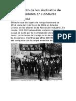 Surgimiento de Los Sindicatos de Los Trabajadores en Honduras