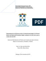 Sistematización de experiencia sobre el contenido desarrollado en la Primera Edición del Diplomado Periodismo Digital, realizado en la UCA entre marzo y octubre del año 2014