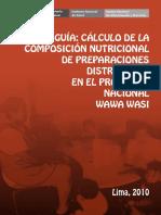 Calculo Nutricional en Wawahuasi