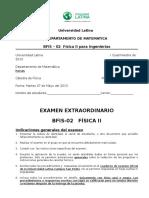 Bfis-02 Fisica II Examen Extraordinario (I-2013)
