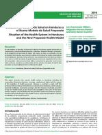 Situacin Del Sistema de Salud en Honduras y El Nuevo Modelo de Salud Propuesto