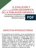Tema 8. Evolucion y Distribución Geográfica de La Población Española