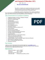 International Journal of Education(IJE)