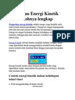 Pengertian Energi Kinetik Dan Contohnya Lengkap
