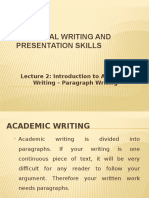 Lecture 2 Paragraph Writing
