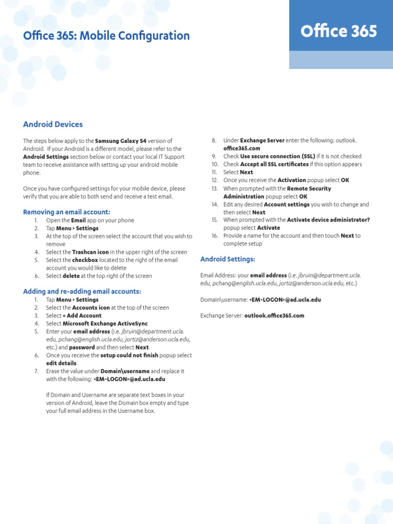 Office365-Mobile-Configuration-Guide pdf | Office 365