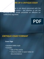 Critique Essay Format (1)