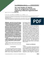 Effect of Regular Oral Intake of Aspirin During Pregnancy on Pregnancy