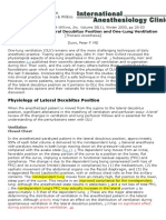 Physiology of the Lateral Decubitus Position and One-Lung Ventilation