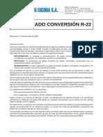Comunicado Escoda Conversion R22
