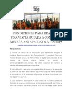 Condiciones Para Realizar Una Visita Guiada a Compañía Minera Antapaccay s