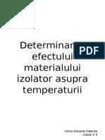 Determinarea Efectului Materialului Izolator Asupra Temperaturii