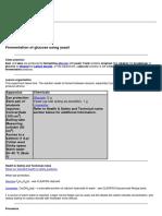 Fermentation of Glucose Using Yeast