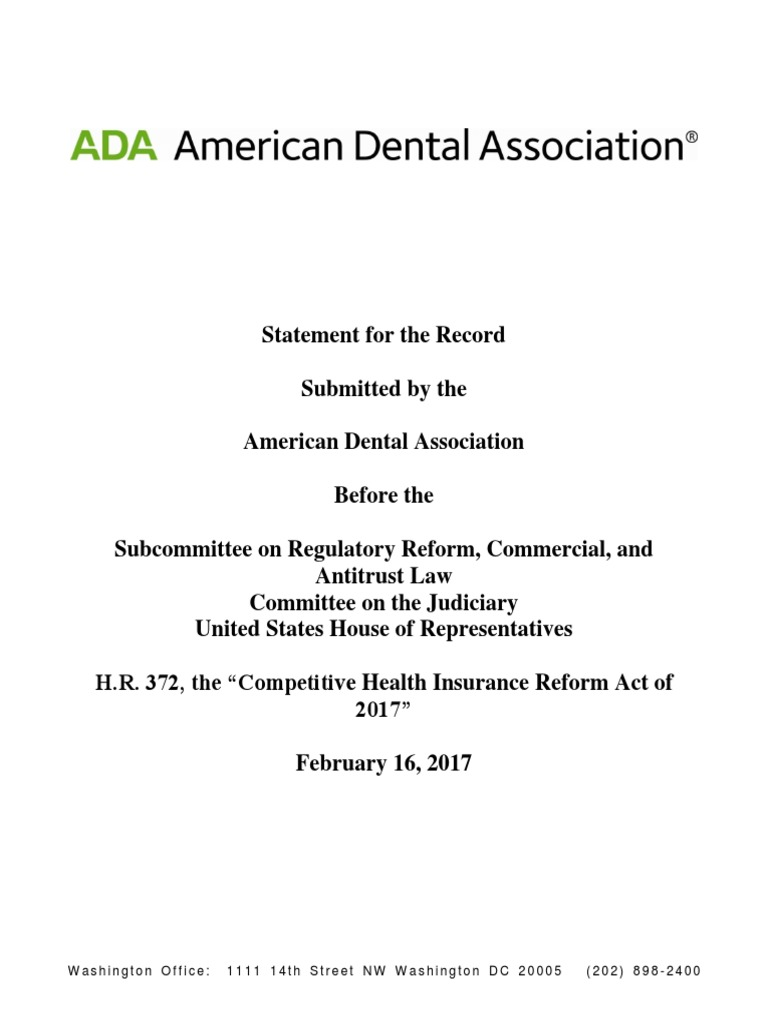 American Dental Association support for H R  372 | United