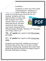 reading month parent letter reading is a treat