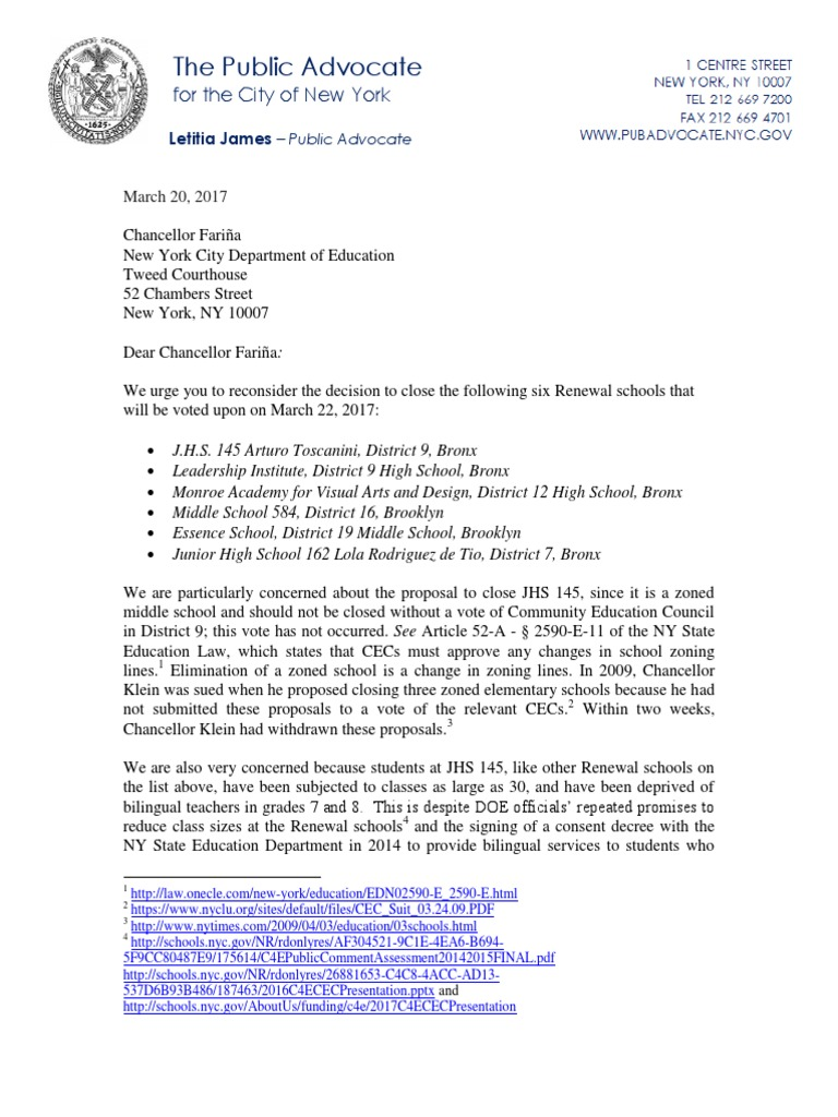 Pa 3 20 2017 Letter Re Renewal Schools Jhs 145 Secondary School