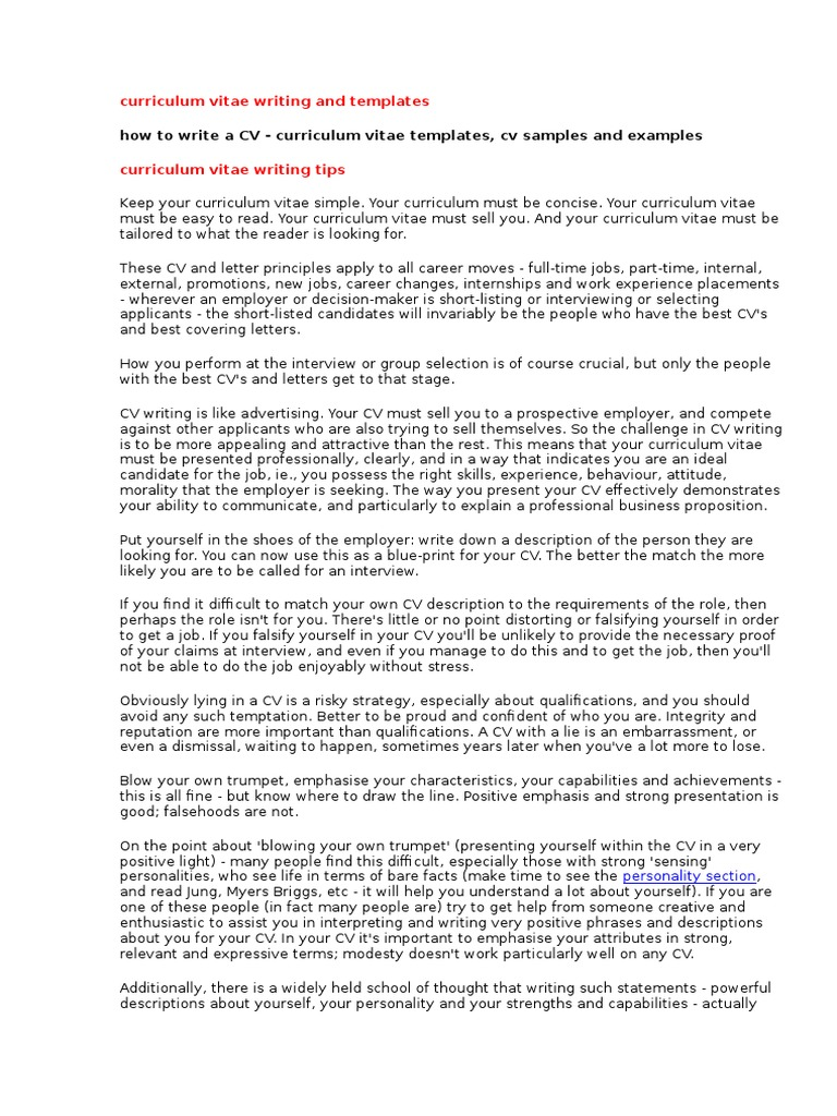 Curriculum Vitae Writing And Templates Doc Internship Sales