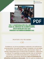 Uso y Comprobacion Del Recurso Para Servicio de Alimentacion 2016-2017
