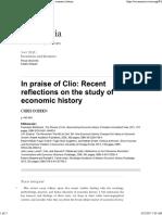 In Praise of Clio Recent Reflections on the Study of Economic History Francesco Boldizzoni